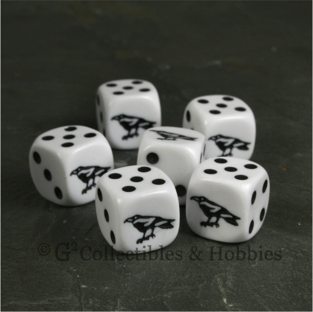 Raven 6pc Dice Set - White