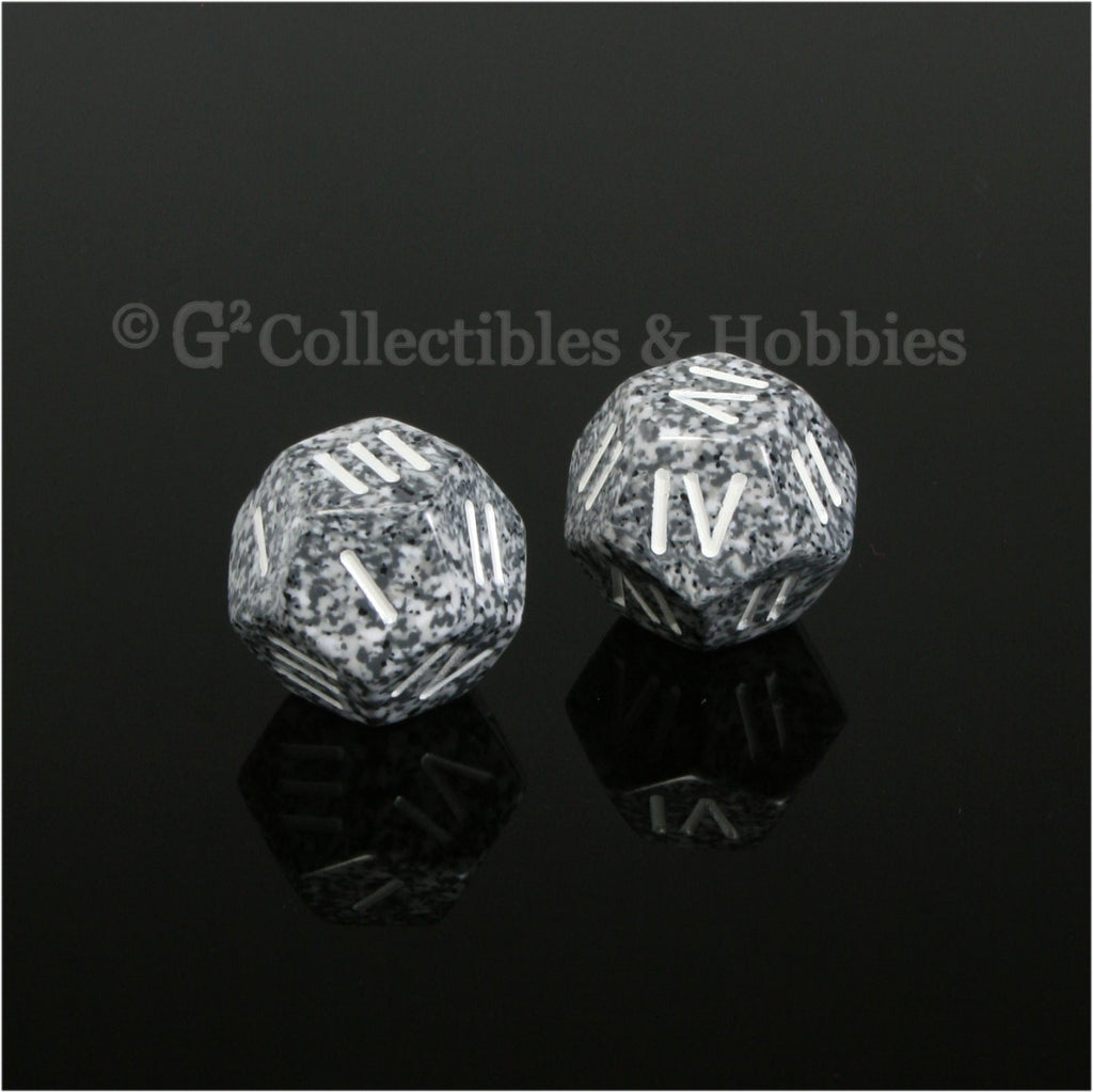 12 Sided Roman Numeral D4 Pair - Granite