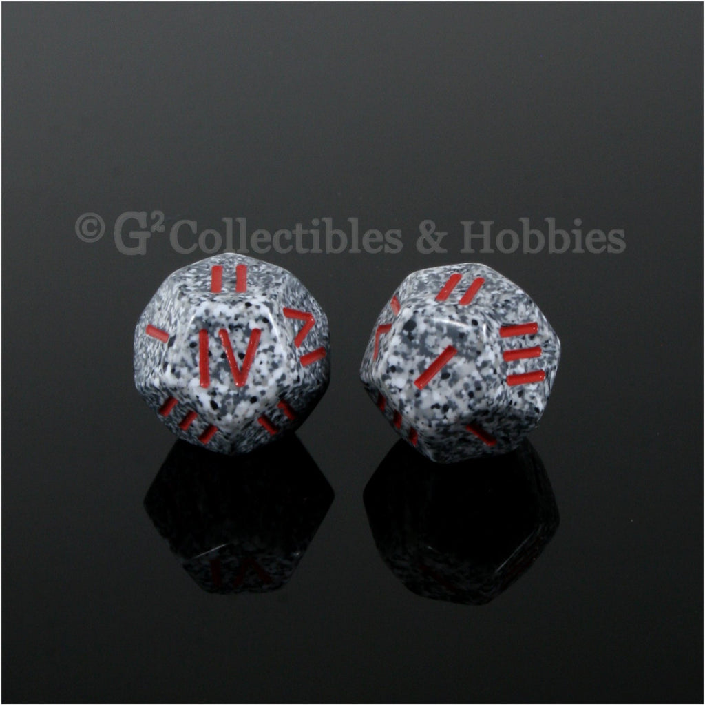 12 Sided Roman Numeral D4 Pair - Granite with Red Numbers