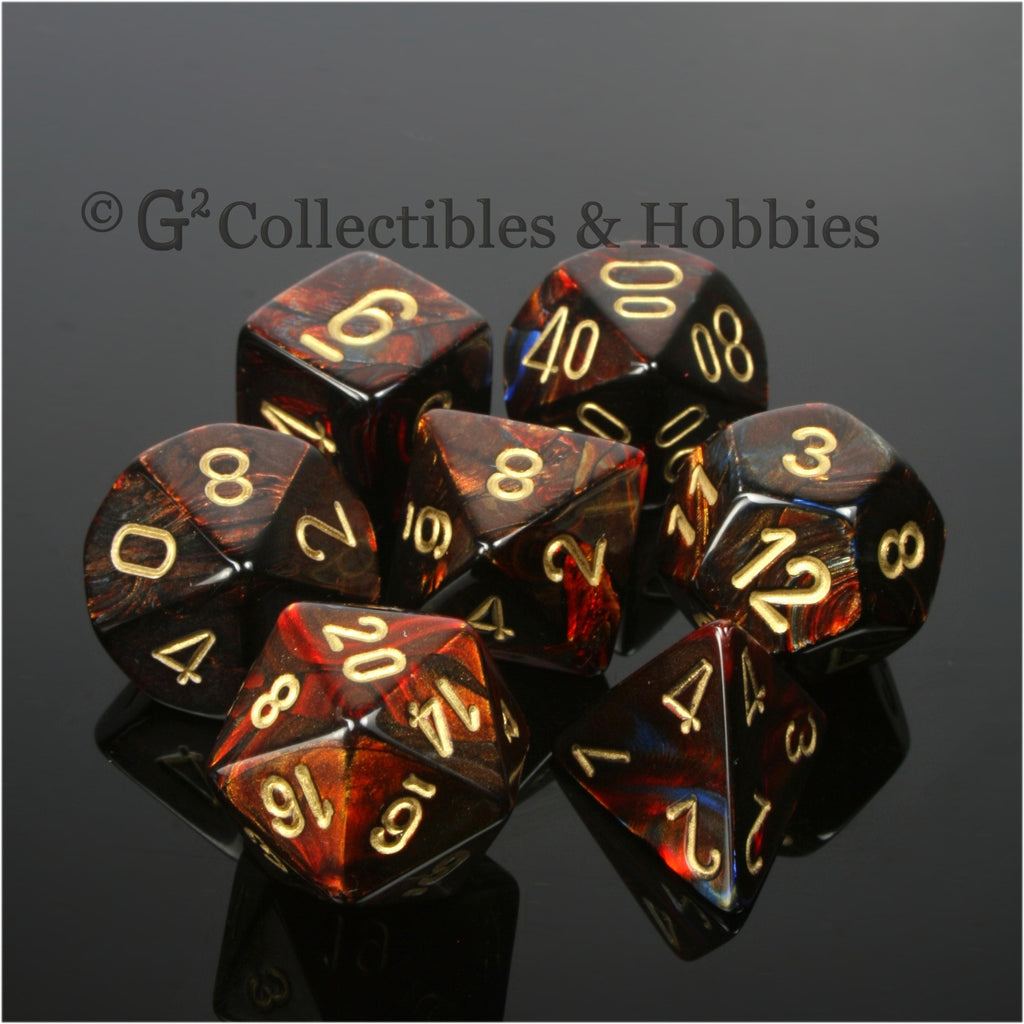 RPG Dice Set Scarab Blue Blood with Gold Numbers 7pc