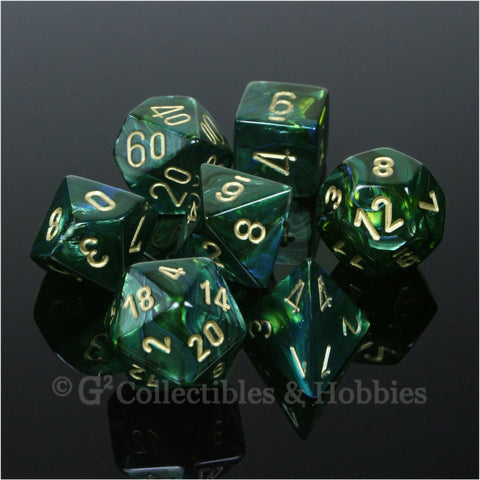 RPG Dice Set Scarab Jade Green / Blue with Gold Numbers 7pc
