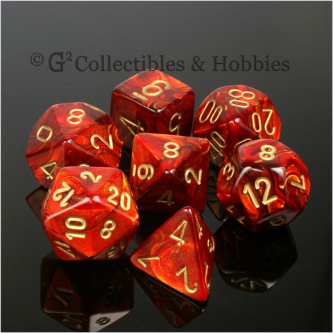 RPG Dice Set Scarab Scarlet Red with Gold Numbers 7pc
