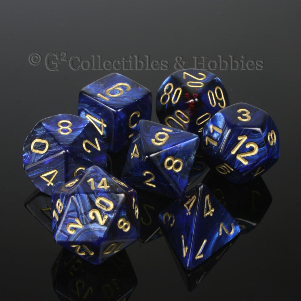 RPG Dice Set Scarab Royal Blue with Gold Numbers 7pc
