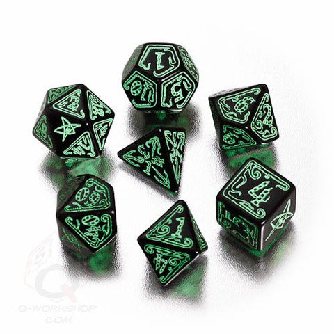 RPG Dice Set Call of Cthulhu Black with Green 7pc