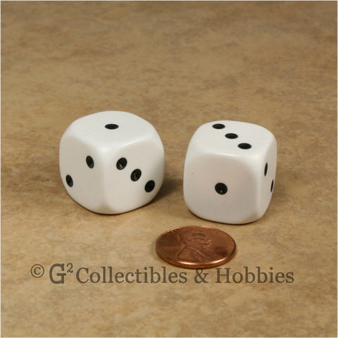 D3 (6 Sided) Large 20mm Spotted Dice Pair - 1 to 3 Twice