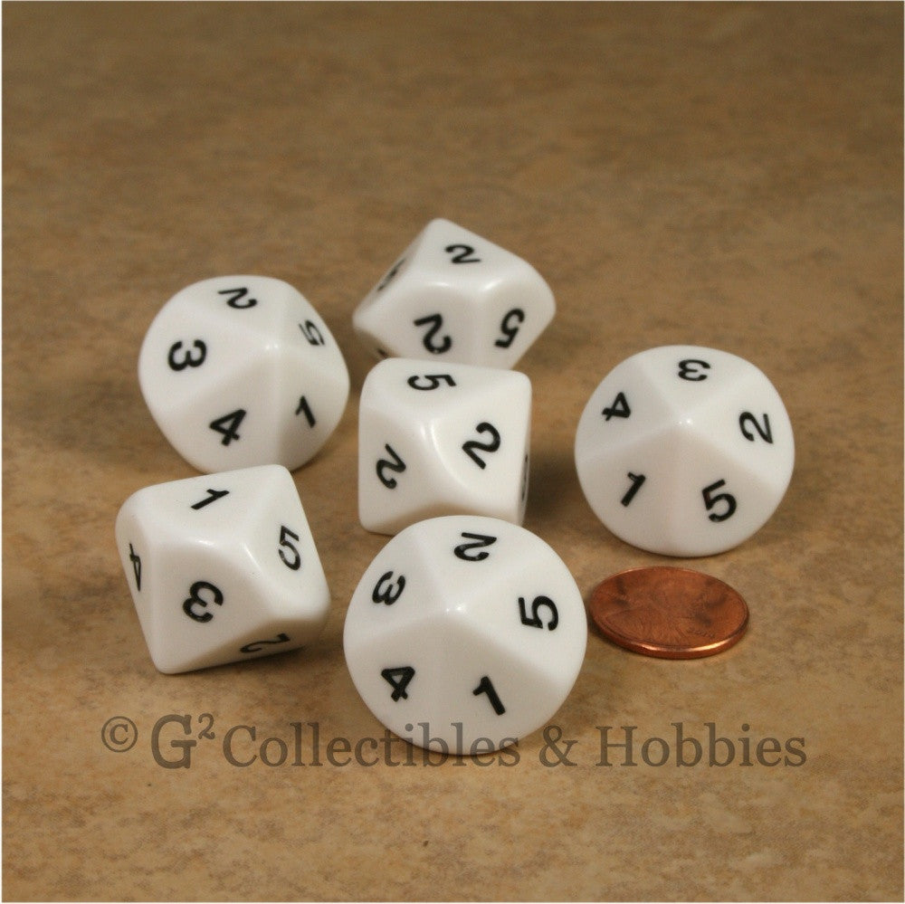 D5 (10 sided) 1 to 5 Twice 20mm Dice Set 6pc - White