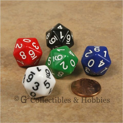 D10 (20 Sided) 0-9 Twice RPG Dice Set 5pc