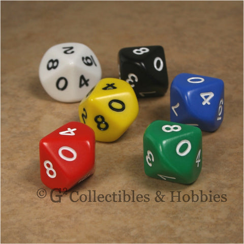 D10 RPG Dice Set : Opaque 6pc