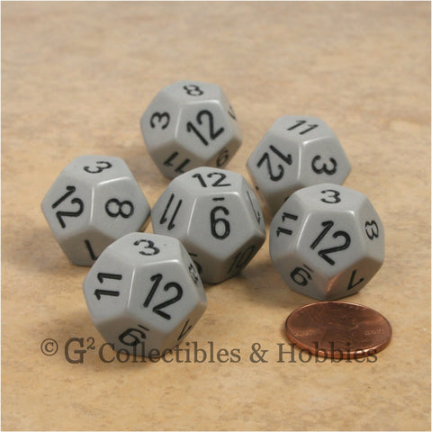 D12 RPG Dice Set : Opaque 6pc - Gray with Black Numbers