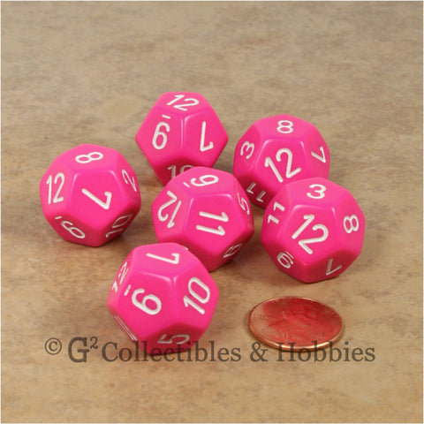 D12 RPG Dice Set : Opaque 6pc - Pink with White Numbers