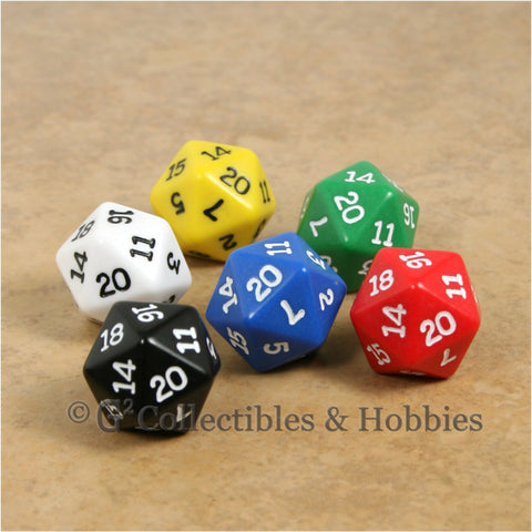 D20 RPG Dice Set : Opaque 6pc - 6 Colors