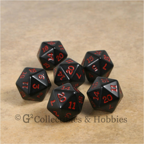 D20 RPG Dice Set : Opaque 6pc - Black with Red Numbers