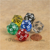 D20 RPG Dice Set : Transparent 6pc