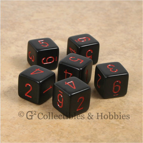 D6 RPG Dice Set : Opaque Black with Red Numbers 6pc
