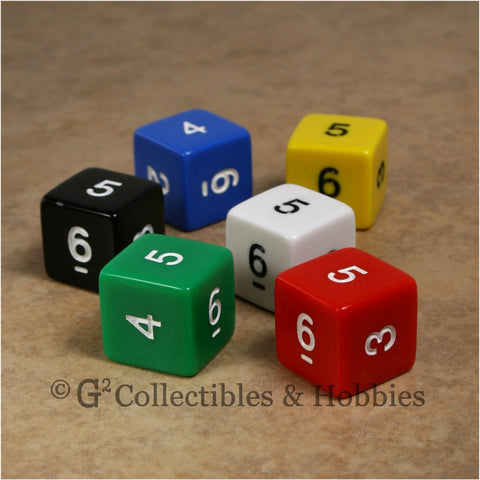 D6 RPG Dice Set : Opaque 6pc