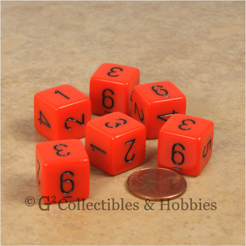 D6 RPG Dice Set : Opaque Orange with Black Numbers 6pc