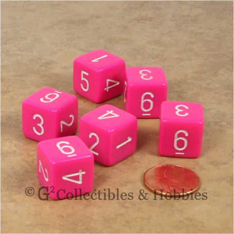 D6 RPG Dice Set : Opaque Pink with White Numbers 6pc