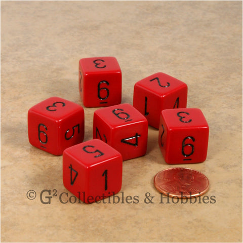 D6 RPG Dice Set : Opaque Red with Black Numbers 6pc