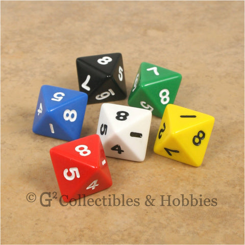 D8 RPG Dice Set : Opaque 6pc