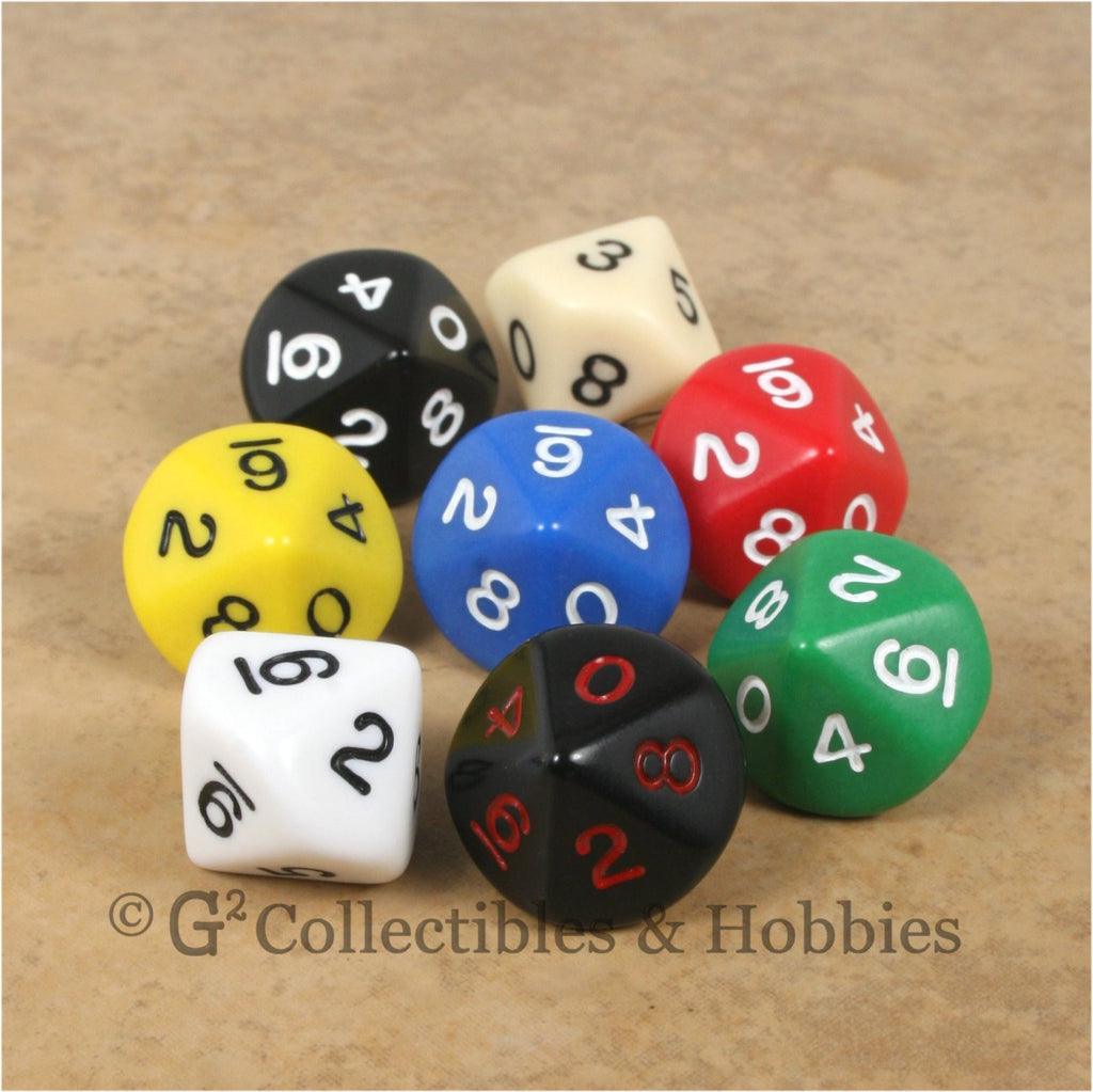 D10 RPG Dice Set : Opaque 8pc
