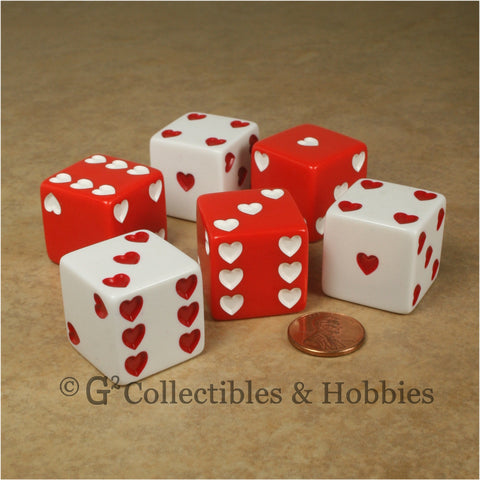 D6 25mm Sweetheart Dice 6pc Dice Set - Red & White