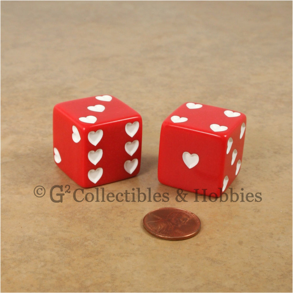 D6 25mm Jumbo Sweetheart Dice Pair - Red