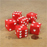 D6 25mm Sweetheart Dice 6pc Dice Set - Red