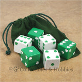 D6 25mm Jumbo Lucky Shamrock Dice 6pc & Bag Set