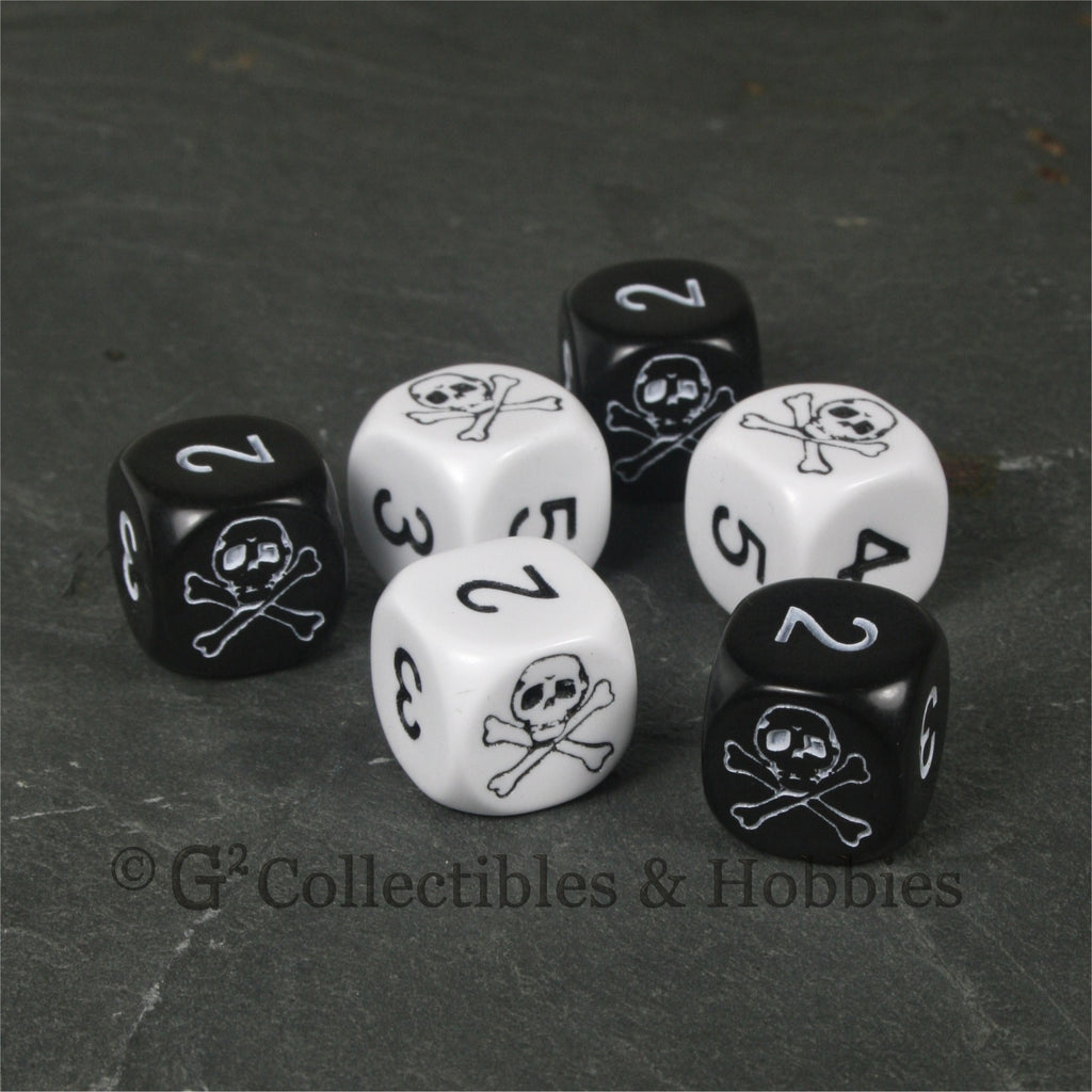 Pirate Skull & Bones 6pc Dice Set - Black & White