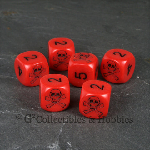 Pirate Skull & Bones 6pc Dice Set - Red
