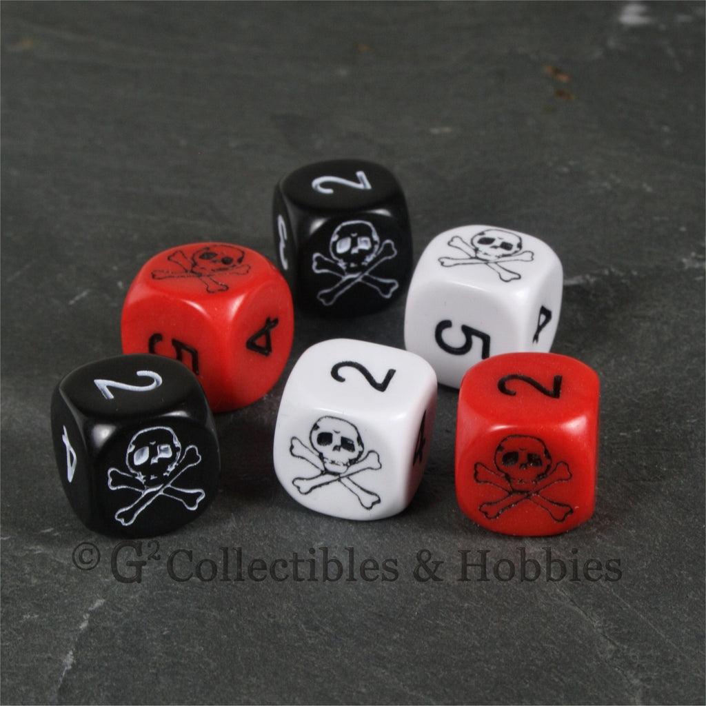 Pirate Skull & Bones 6pc Dice Set - Black, White & Red