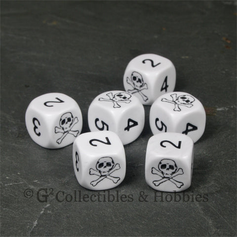 Pirate Skull & Bones 6pc Dice Set - White