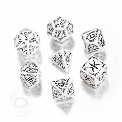 RPG Dice Set Tribal White with Black 7pc