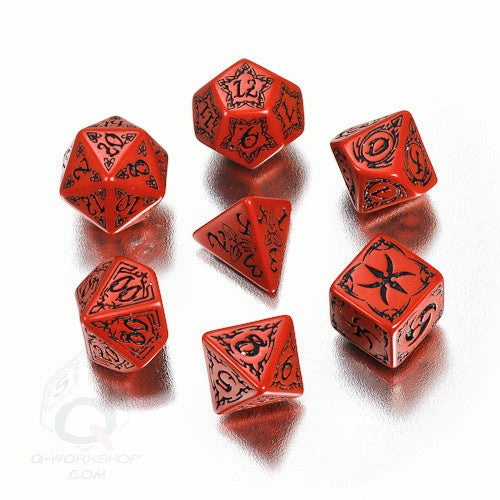 RPG Dice Set Tribal Red with Black 7pc