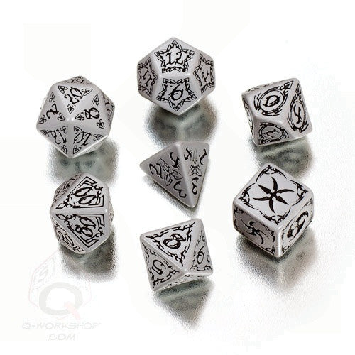 RPG Dice Set Tribal Gray with Black 7pc