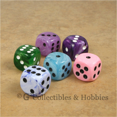 D6 16mm Deluxe Swirl 6pc Dice Set - 6 Colors