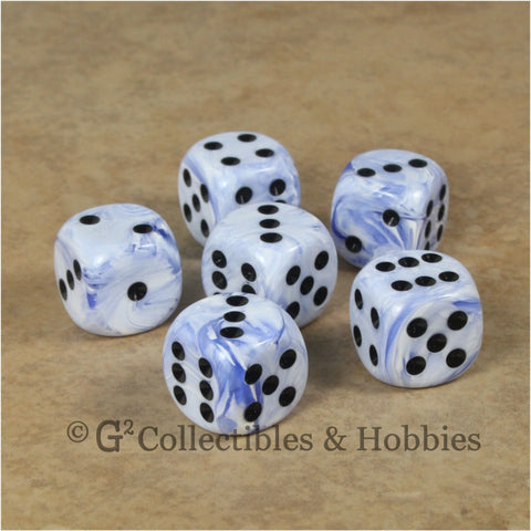 D6 16mm Deluxe Swirl Blue 6pc Dice Set