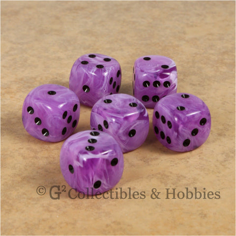 D6 16mm Deluxe Swirl Ice Purple 6pc Dice Set