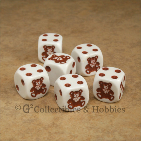 Teddy Bear 6pc Dice Set - White