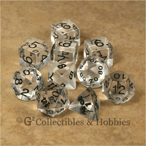 RPG Dice Set Transparent Clear with Black Numbers 10pc