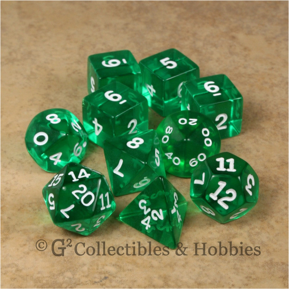 RPG Dice Set Transparent Green with White Numbers 10pc