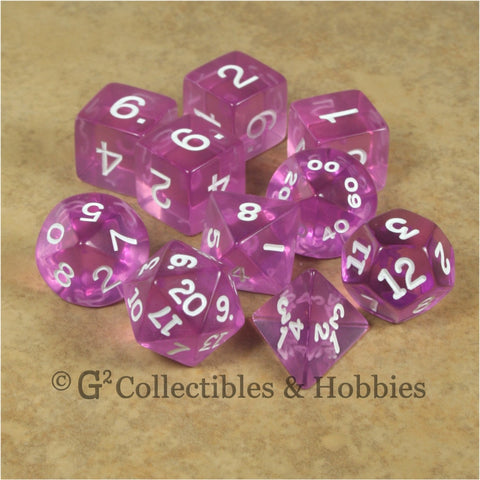 RPG Dice Set Transparent Orchid with White Numbers 10pc