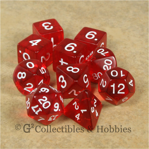 RPG Dice Set Transparent Red with White Numbers 10pc