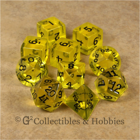 RPG Dice Set Transparent Yellow with Black Numbers 10pc