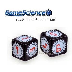 Pair of Traveller RPG Gamescience Sunburst Dice