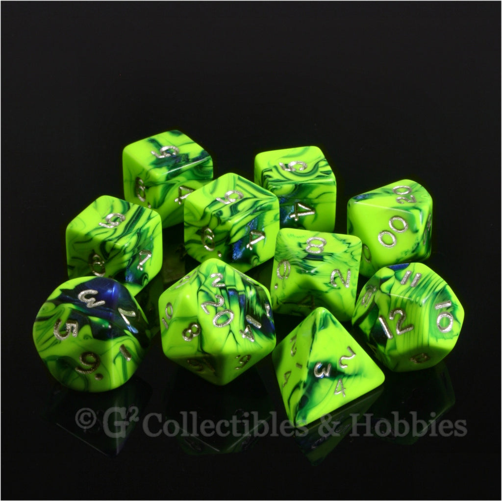 RPG Dice Set Toxic Green Blue with Silver Numbers 10pc
