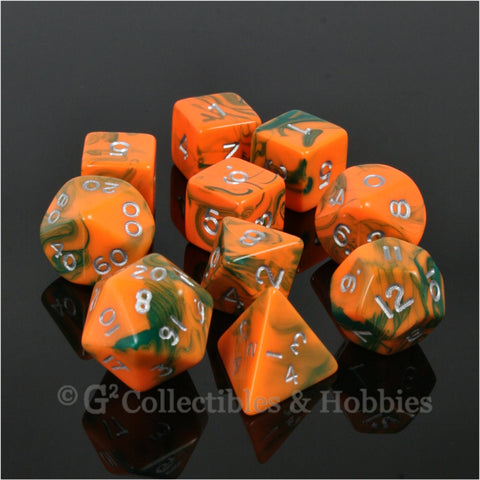 RPG Dice Set Toxic Orange Green with Silver Numbers 10pc