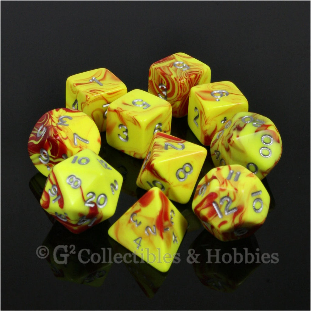 RPG Dice Set Toxic Red Yellow with Silver Numbers 10pc