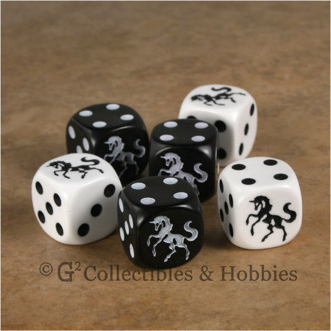 Unicorn 6pc Dice Set - White & Black