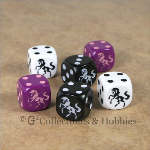 Unicorn 6pc Dice Set - White Purple Black